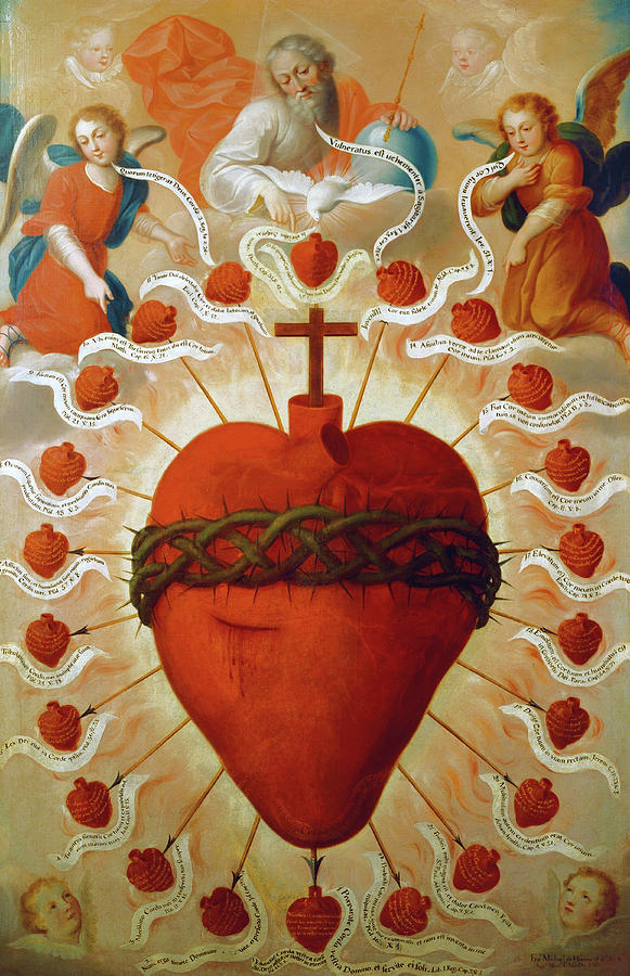 Feast Painting - The Feast Of The Sacred Heart Of Jesus, 1747 by Fray Miguel de Herrera