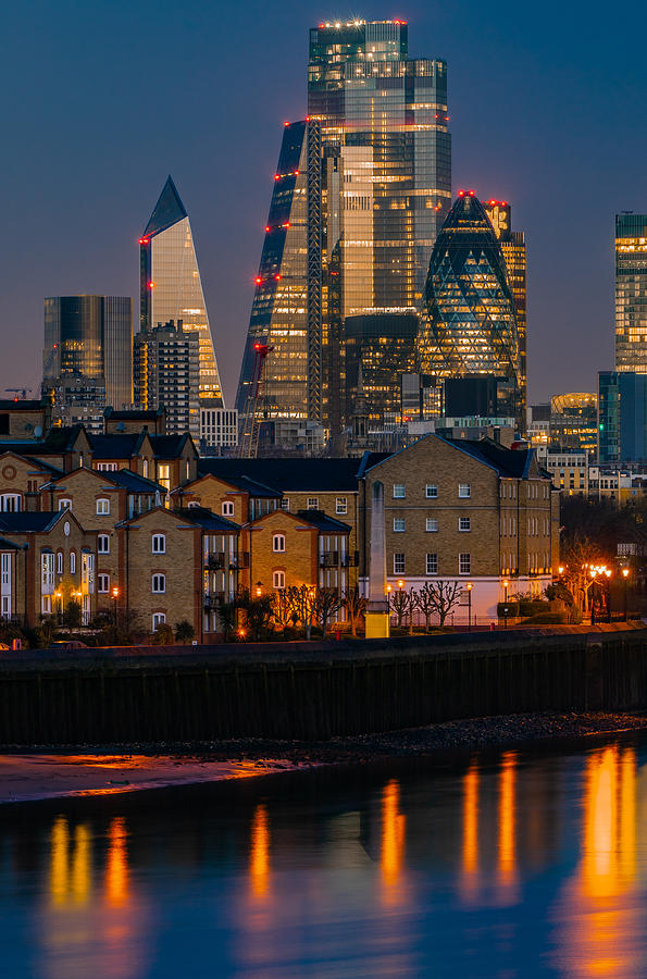 The Financial District Of London Seen At Blue Hour. Photograph