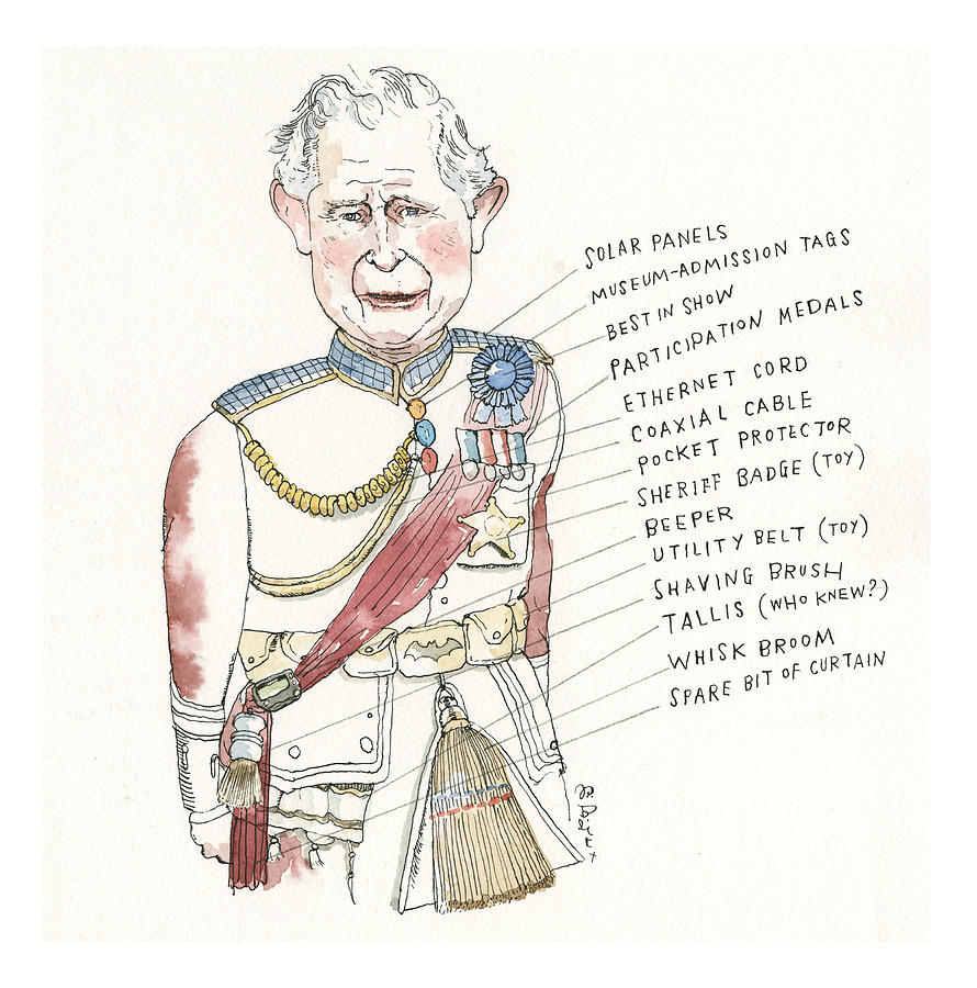 The Fine Points of Prince Charless Finery, Explained Painting by Barry Blitt