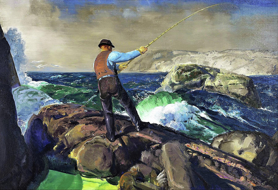The Fisherman Painting - The Fisherman - Digital Remastered Edition by George Wesley Bellows