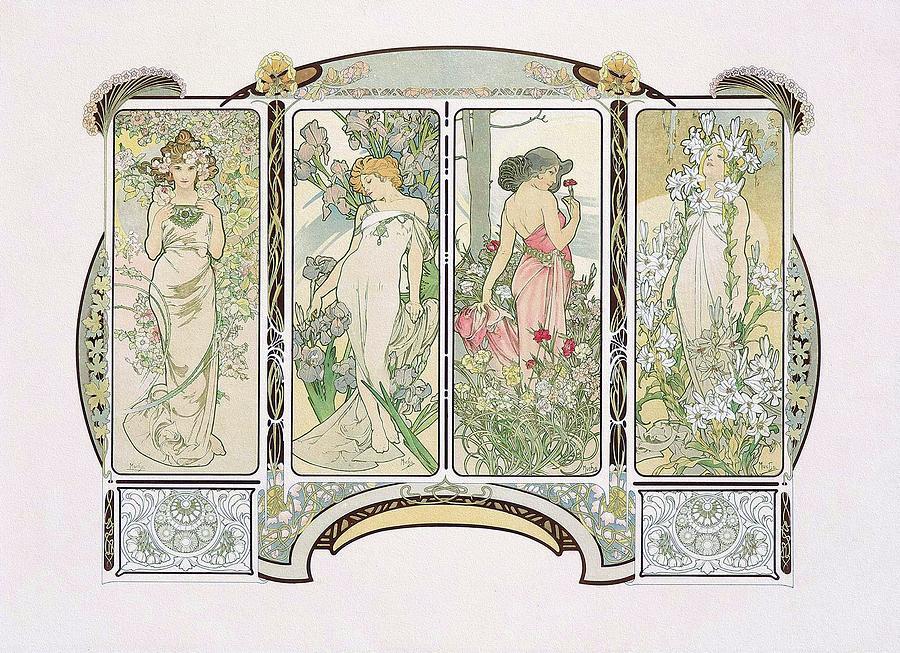 Art Nouveau Mucha Painting - The Flowers. 1900 Mucha Art Nouveau Poster by Alphonse Mucha
