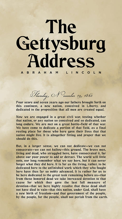 The Gettysburg Address Print - Abraham Lincoln Speech - American History Poster 03 Digital Art