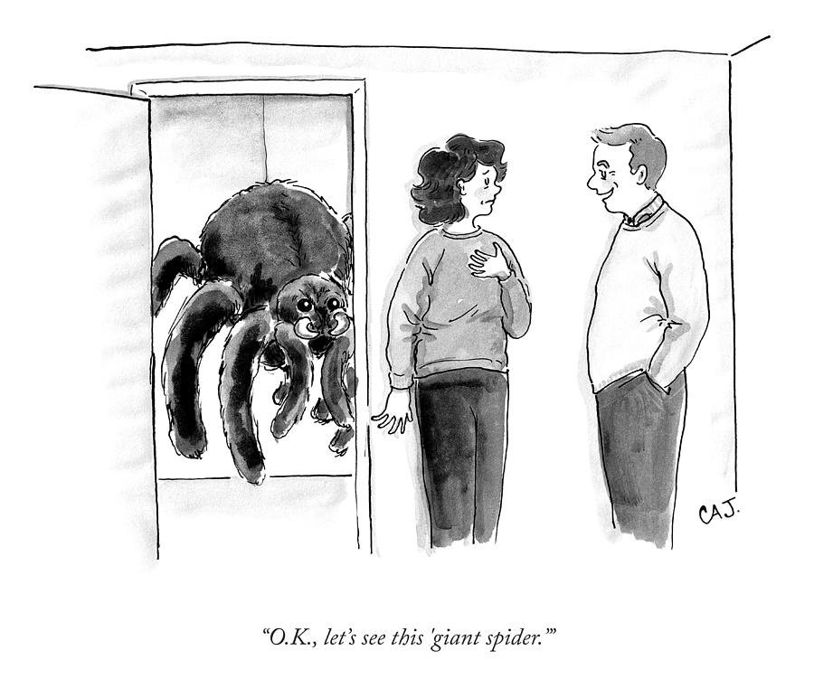 The Giant Spider Drawing by Carolita Johnson