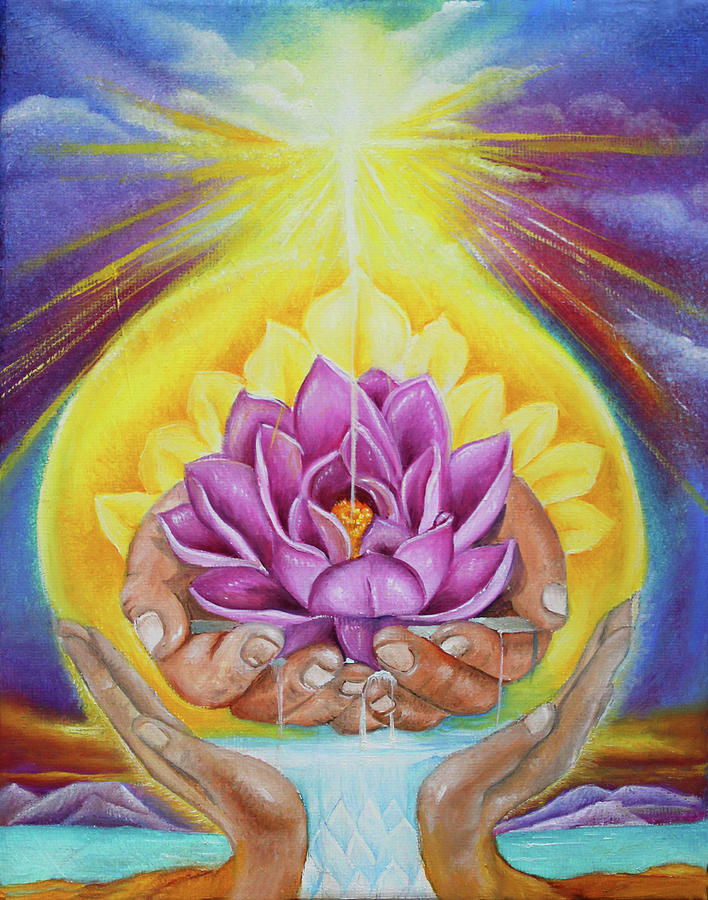 Healing Hands Painting - The Gift by Lori Felix