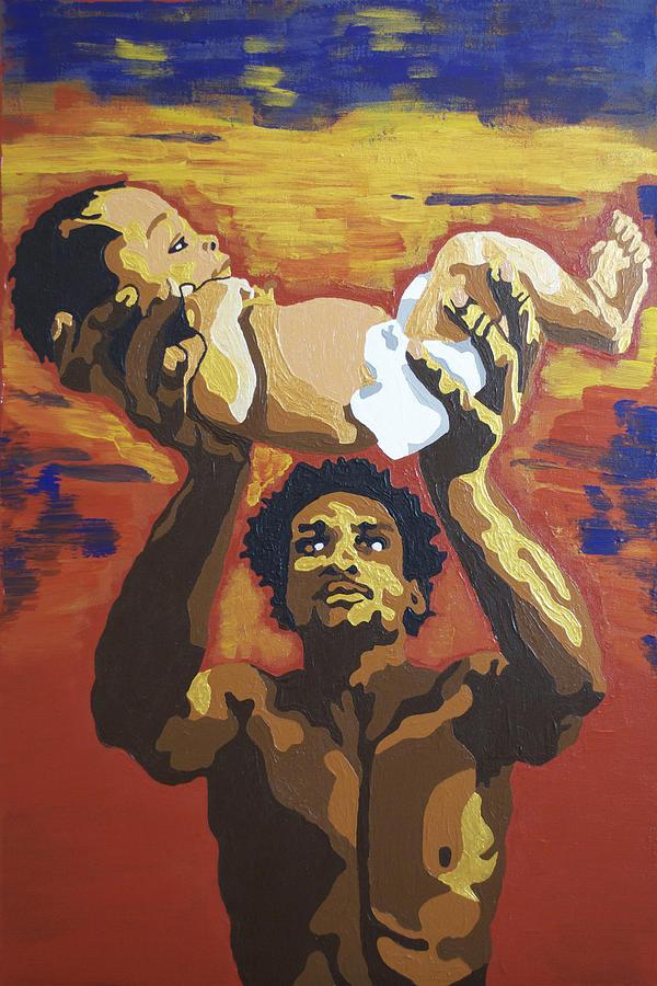 Black Man Painting - The Gift by Rachel Natalie Rawlins