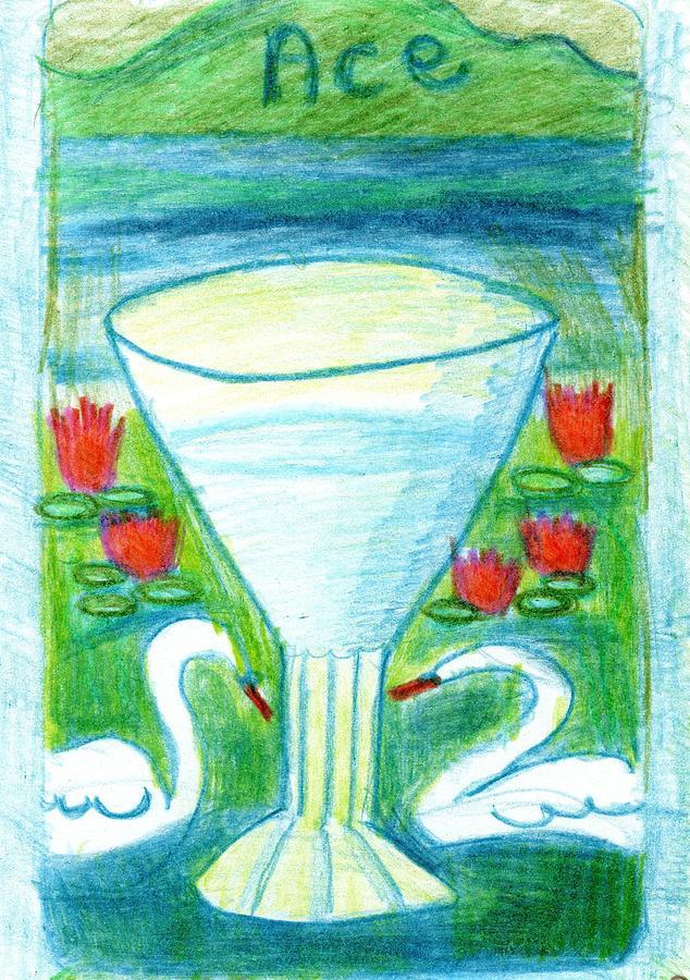 Tarot Drawing - The Glowing Tarot Cups 1 by Sushila Burgess