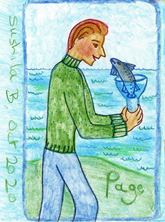 Tarot Drawing - The Glowing Tarot Cups 11 by Sushila Burgess