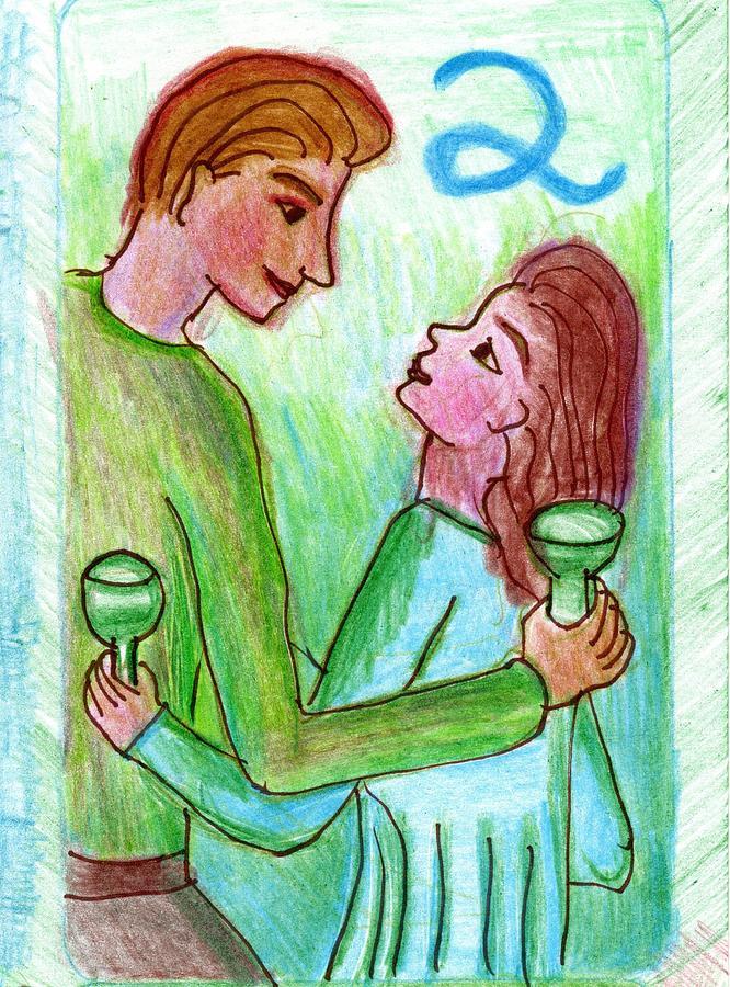 Tarot Drawing - The Glowing Tarot Cups 2 by Sushila Burgess