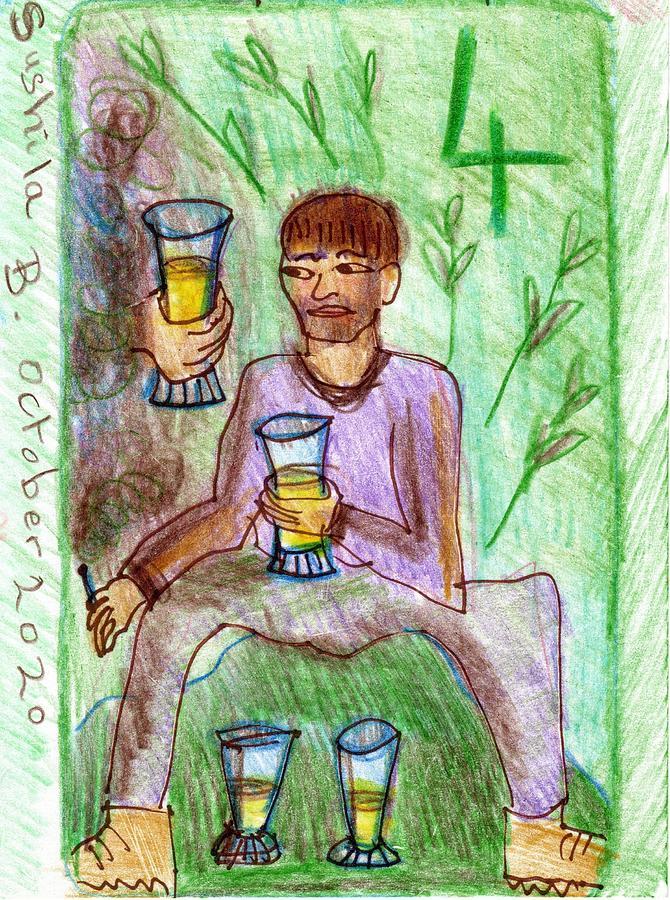Tarot Drawing - The Glowing Tarot Cups 4 by Sushila Burgess