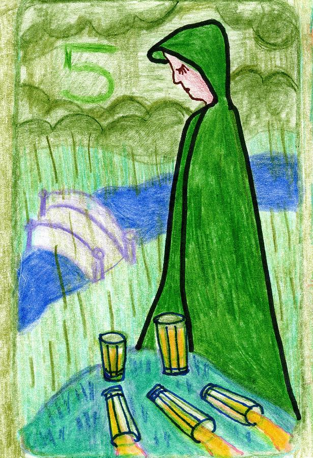 Tarot Drawing - The Glowing Tarot Cups 5 by Sushila Burgess
