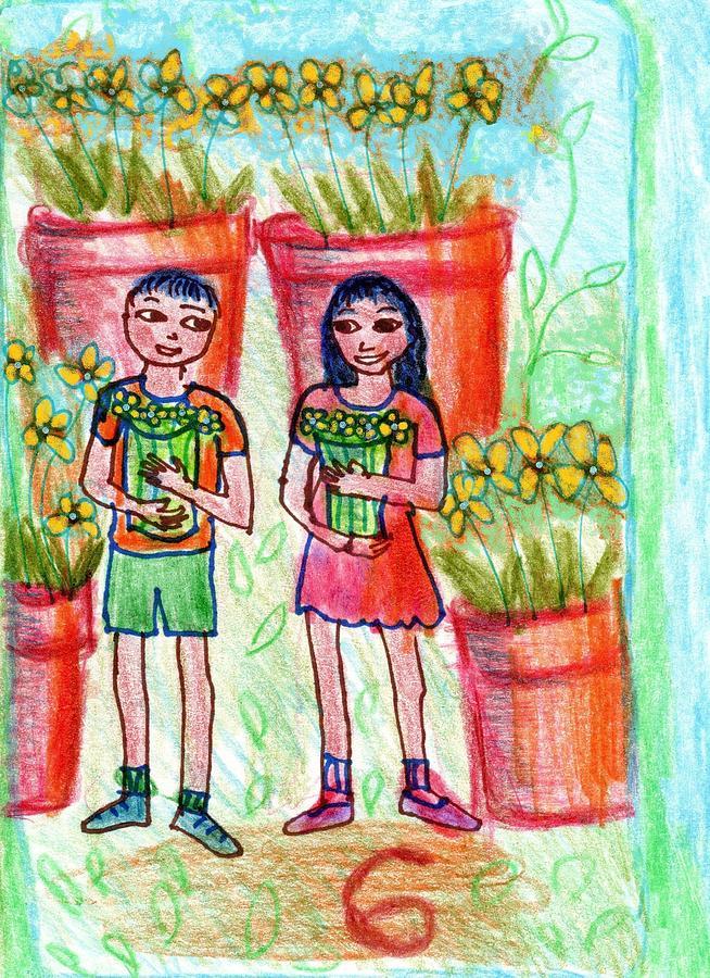 Tarot Drawing - The Glowing Tarot Cups 6 by Sushila Burgess