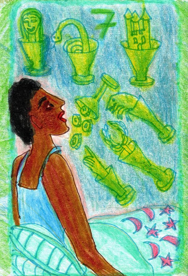 Tarot Drawing - The Glowing Tarot Cups 7 by Sushila Burgess