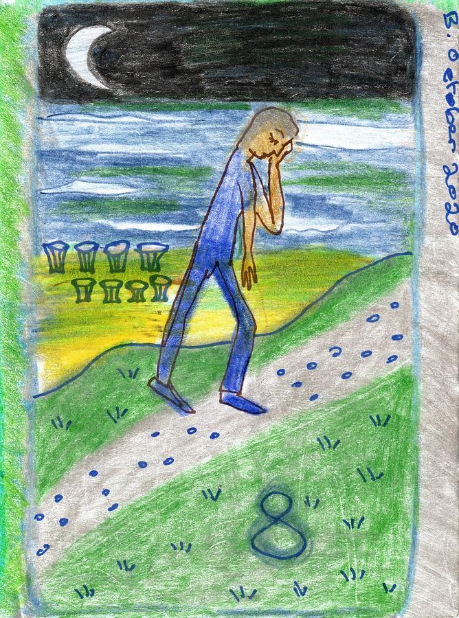 Tarot Drawing - The Glowing Tarot Cups 8 by Sushila Burgess