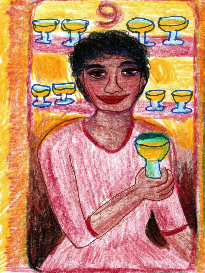 Tarot Drawing - The Glowing Tarot Cups 9 by Sushila Burgess
