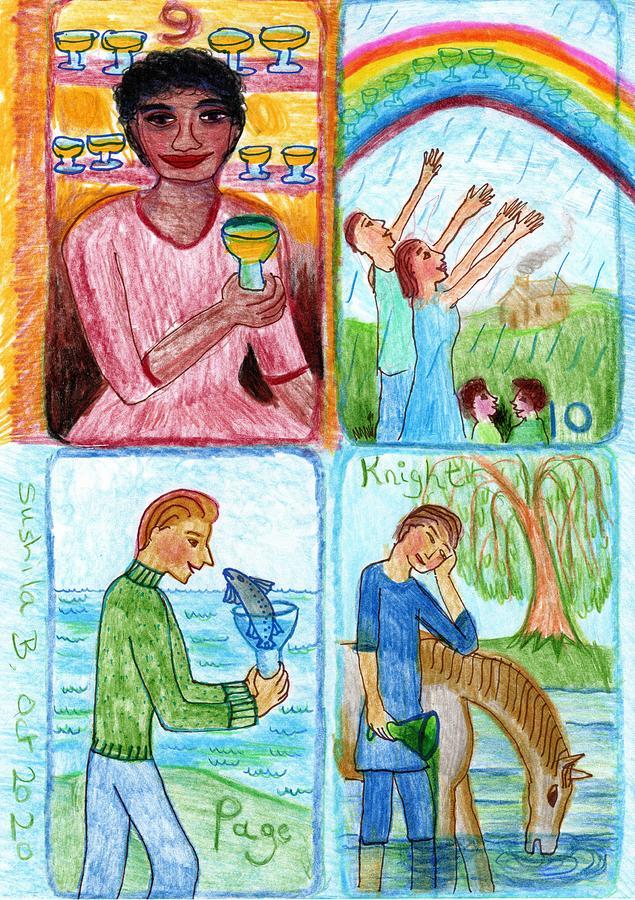 Tarot Drawing - The Glowing Tarot Cups 9 to 12 by Sushila Burgess