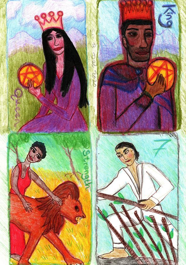Tarot Drawing - The Glowing Tarot final cards by Sushila Burgess