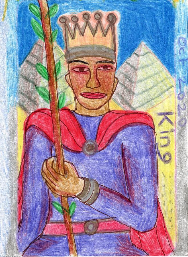 Tarot Drawing - The Glowing Tarot King of Wands by Sushila Burgess