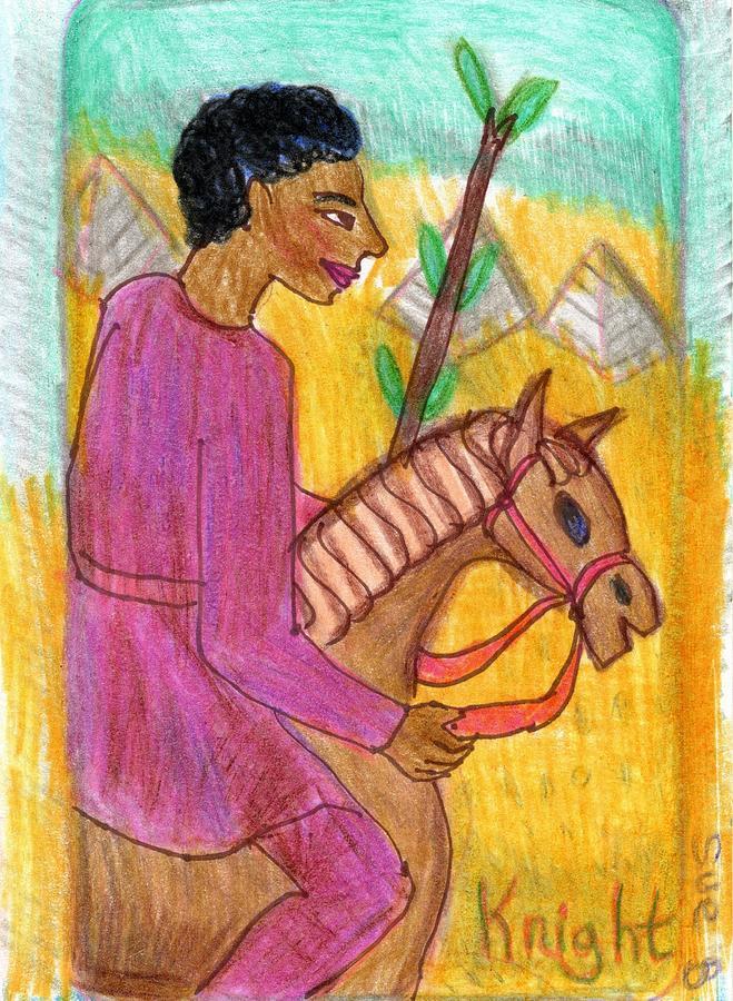 Tarot Drawing - The Glowing Tarot Knight of Wands by Sushila Burgess
