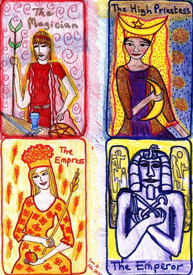 Tarot Drawing - The Glowing Tarot Major Arcana 1 to 4 by Sushila Burgess