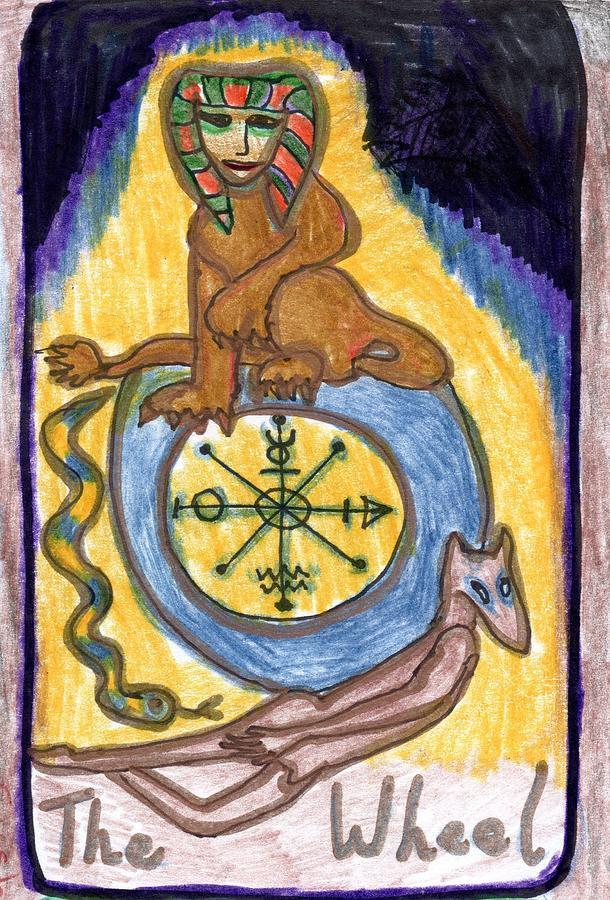 Tarot Drawing - The Glowing Tarot Major Arcana 10 by Sushila Burgess