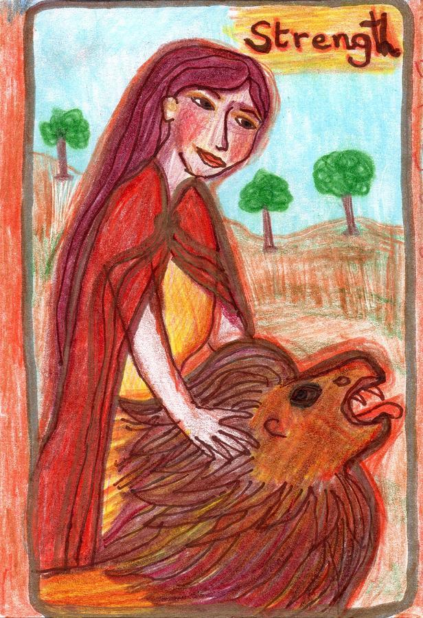 Tarot Drawing - The Glowing Tarot Major Arcana 11 by Sushila Burgess