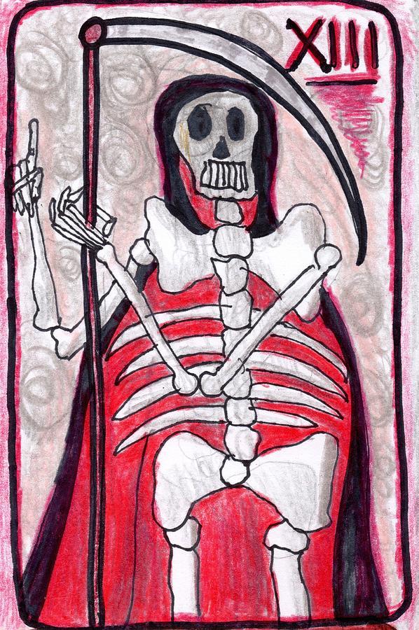 Tarot Drawing - The Glowing Tarot Major Arcana 13 by Sushila Burgess