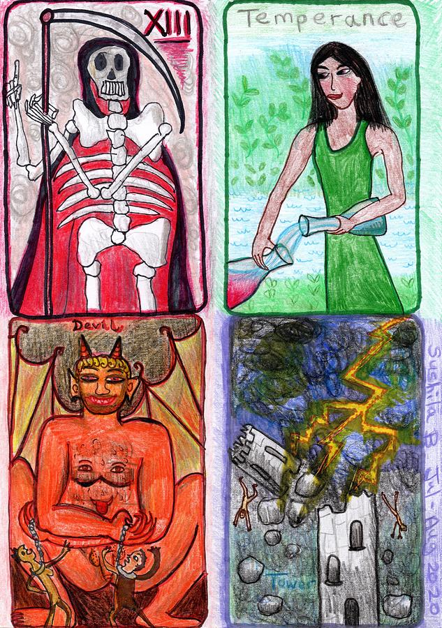Tarot Drawing - The Glowing Tarot Major Arcana 13 to 16 by Sushila Burgess