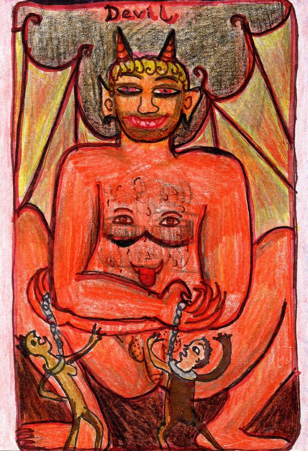 Tarot Drawing - The Glowing Tarot Major Arcana 15 by Sushila Burgess