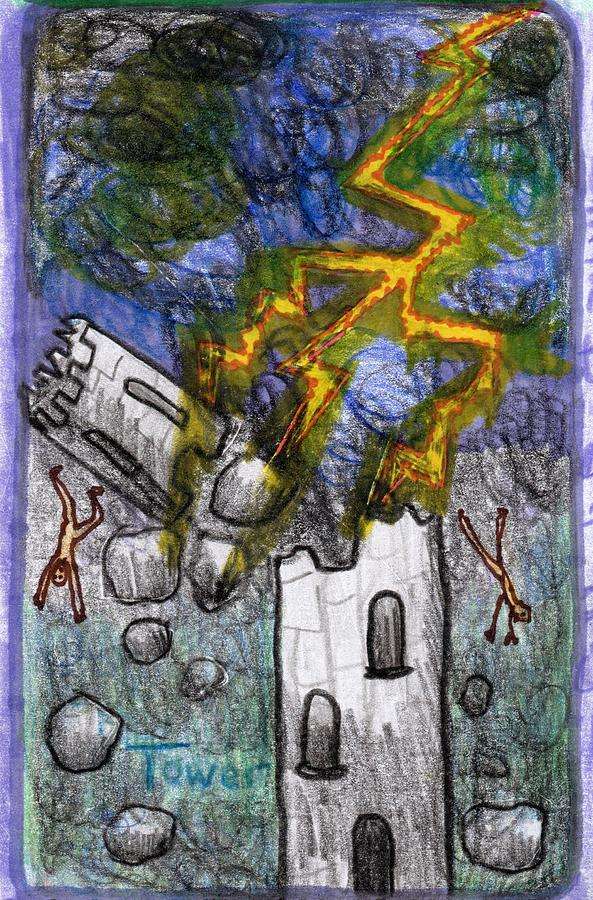 Tarot Drawing - The Glowing Tarot Major Arcana 16 by Sushila Burgess