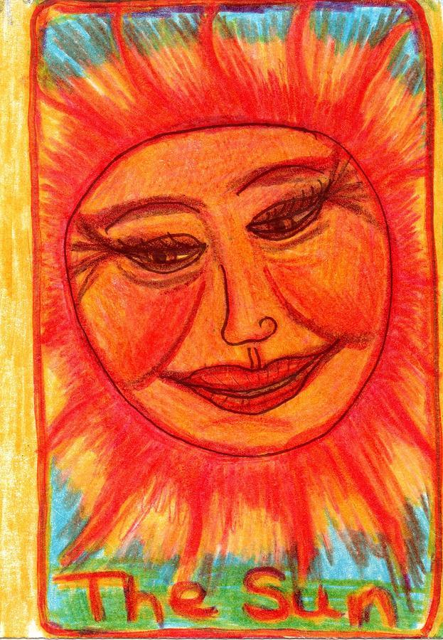 Tarot Drawing - The Glowing Tarot Major Arcana 19 by Sushila Burgess