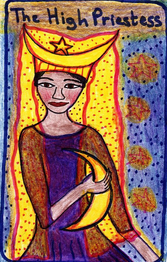 Tarot Drawing - The Glowing Tarot Major Arcana 2 by Sushila Burgess