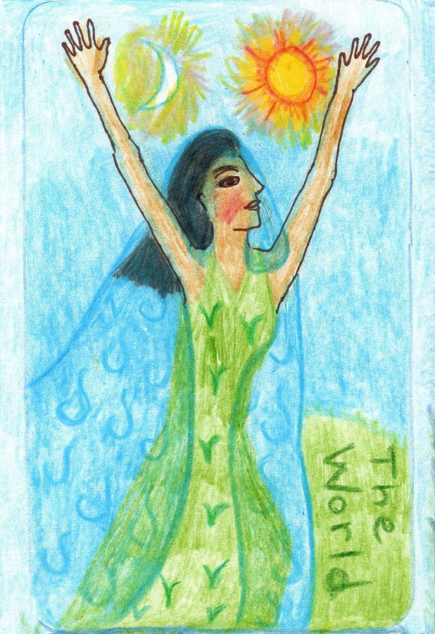 Tarot Drawing - The Glowing Tarot Major Arcana 21 by Sushila Burgess