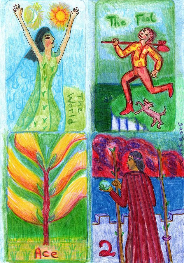 Tarot Drawing - The Glowing Tarot Major Arcana 21 to Wands 2 by Sushila Burgess