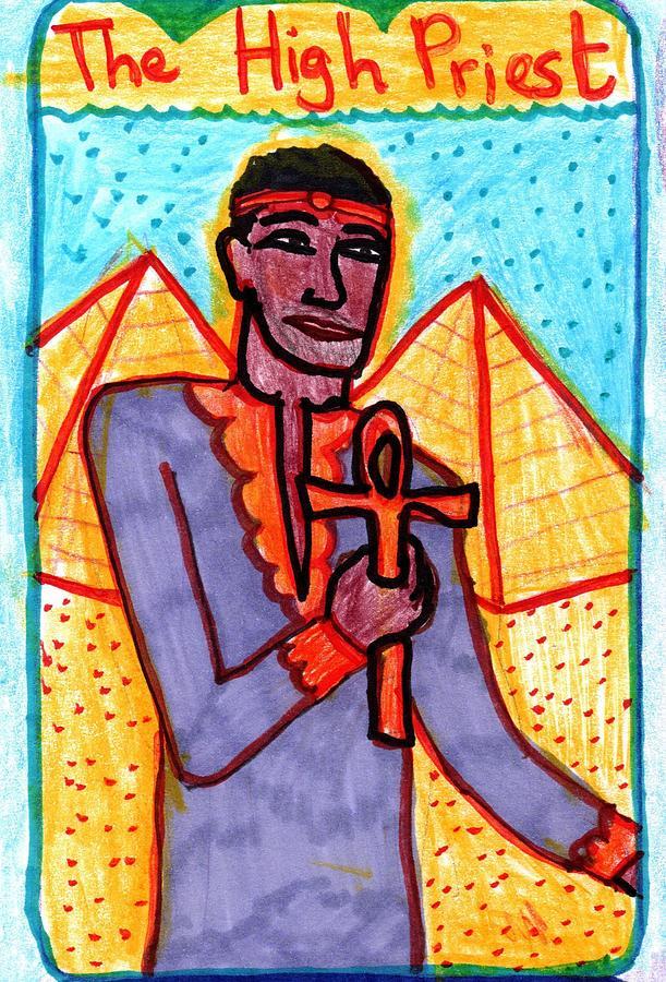 Tarot Drawing - The Glowing Tarot Major Arcana 5 by Sushila Burgess