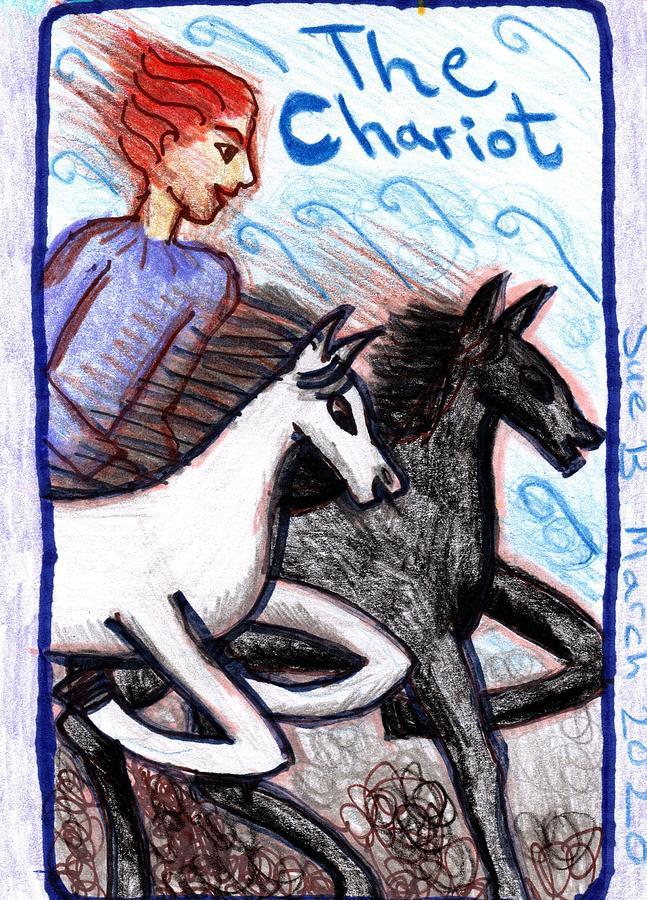 Tarot Drawing - The Glowing Tarot Major Arcana 7 by Sushila Burgess