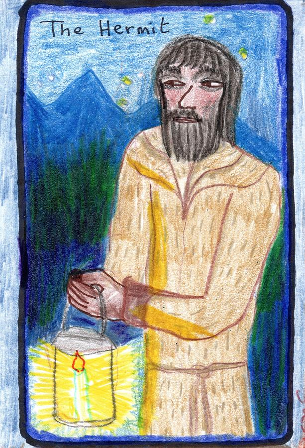 Tarot Drawing - The Glowing Tarot Major Arcana 9 by Sushila Burgess