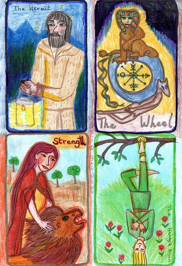 Tarot Drawing - The Glowing Tarot Major Arcana 9 to 12 by Sushila Burgess