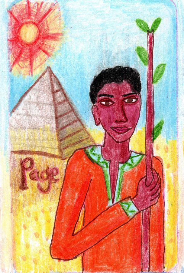 Tarot Drawing - The Glowing Tarot Page of Wands by Sushila Burgess