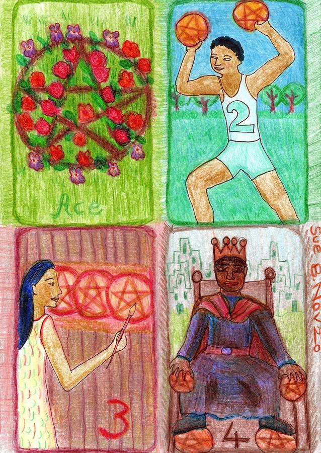 Tarot Drawing - The Glowing Tarot Pentacles 1 to 4 by Sushila Burgess