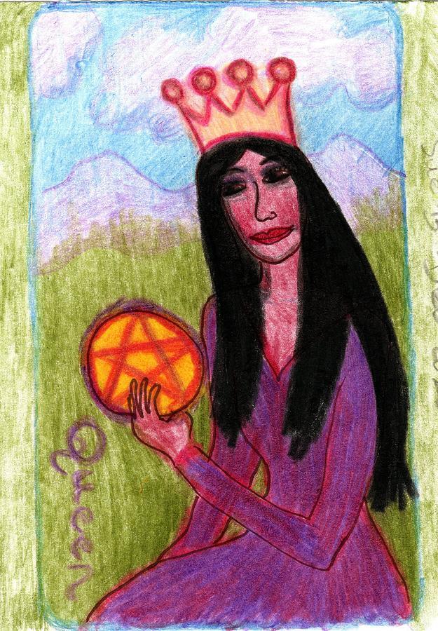 Tarot Drawing - The Glowing Tarot Pentacles 13 by Sushila Burgess