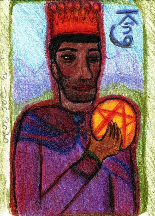 Tarot Drawing - The Glowing Tarot Pentacles 14 by Sushila Burgess
