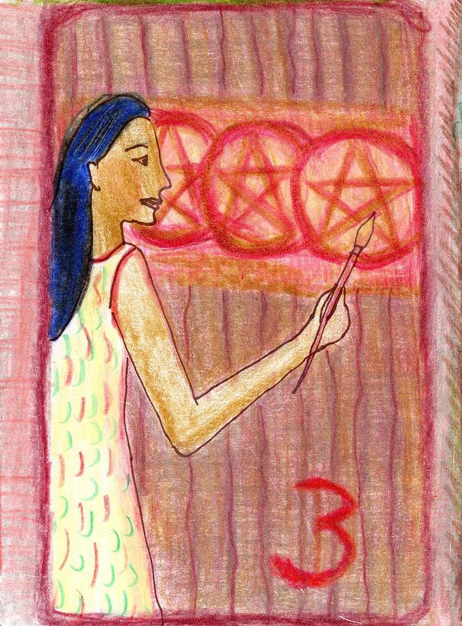 Tarot Drawing - The Glowing Tarot Pentacles 3 by Sushila Burgess