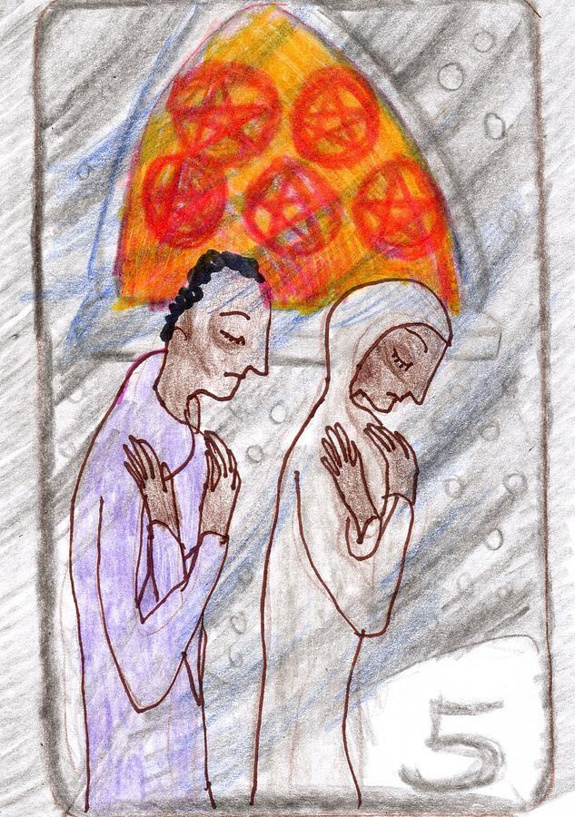 Tarot Drawing - The Glowing Tarot Pentacles 5 by Sushila Burgess