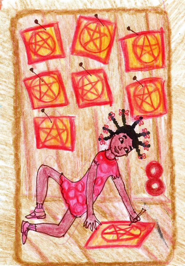 Tarot Drawing - The Glowing Tarot Pentacles 8 by Sushila Burgess