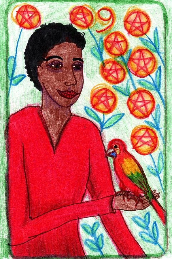 Tarot Drawing - The Glowing Tarot Pentacles 9 by Sushila Burgess