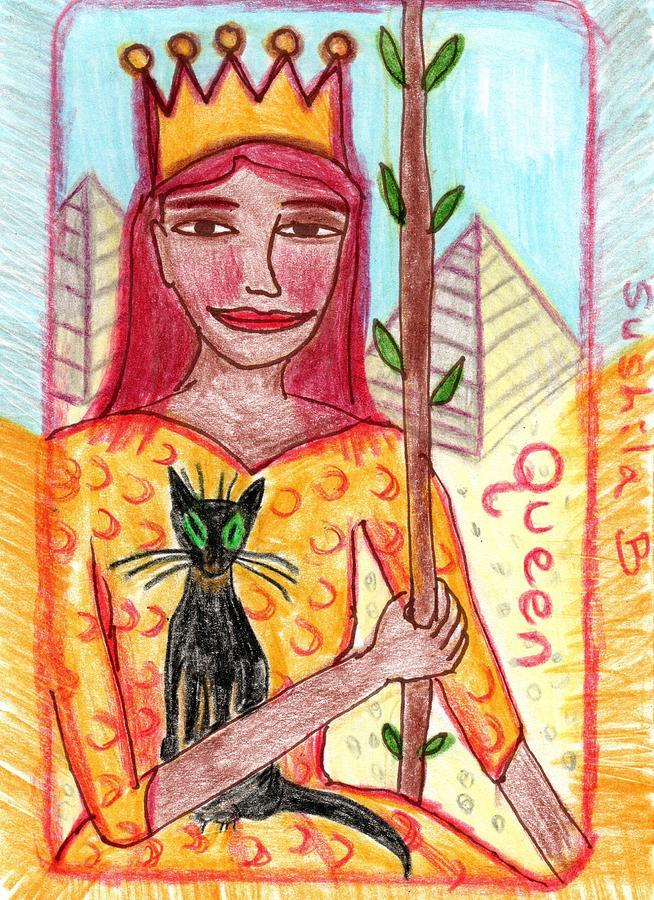 Tarot Drawing - The Glowing Tarot Queen of Wands by Sushila Burgess