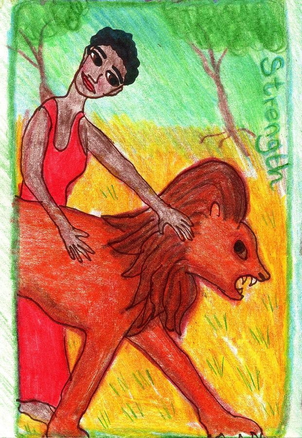 Tarot Drawing - The Glowing Tarot Strength version 2 by Sushila Burgess