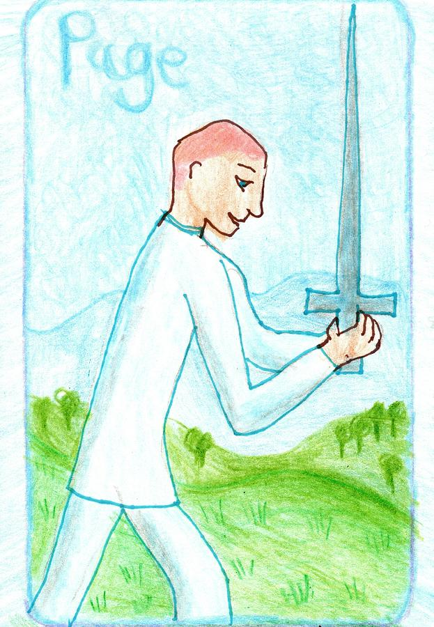 Tarot Drawing - The Glowing Tarot Swords 11 by Sushila Burgess