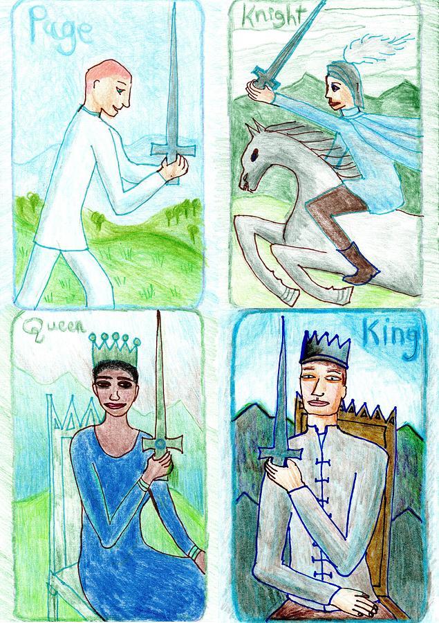 Tarot Drawing - The Glowing Tarot Swords 11 to 14 by Sushila Burgess
