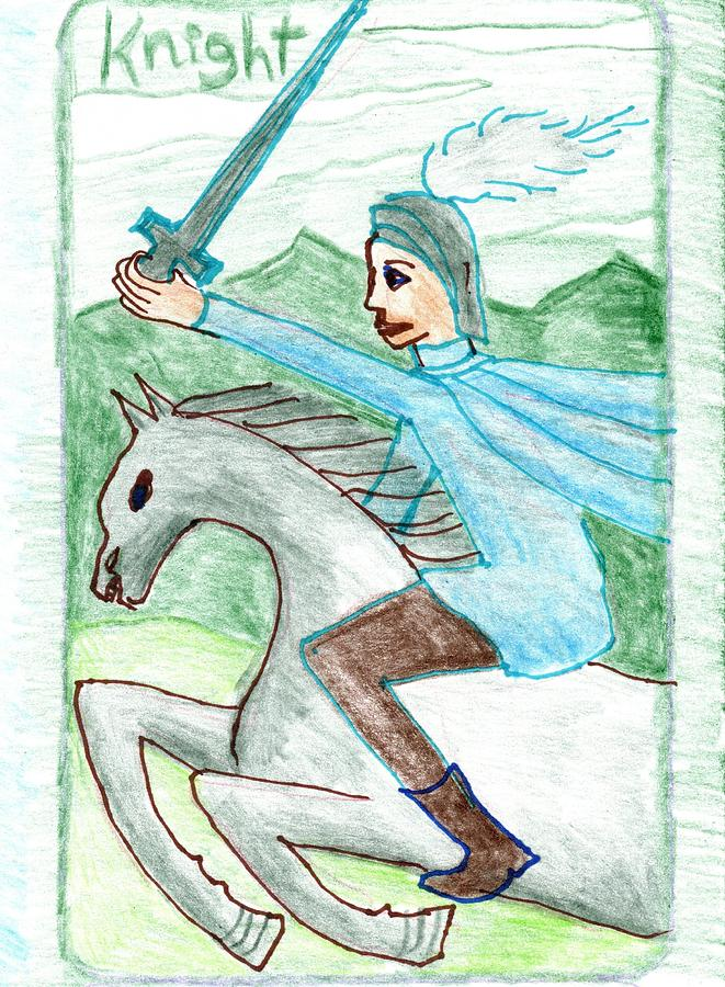 Tarot Drawing - The Glowing Tarot Swords 12 by Sushila Burgess